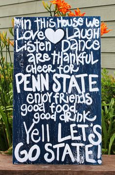 """Wooden Art, Wooden Signs, Wood Signs, College Art, Painted Sign, Wood Art, Distressed Wood Sign Art: """"Penn State Fun Saying"""" Distressed Sign. $40.00, via Etsy."""