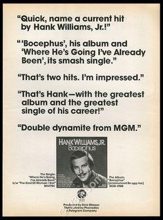 Bocephus promo ad 1975