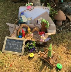A wonderful fairy village set up in a suitcase - easy to set up and pack away. Using a variety of TTS resources. Recordable talking buttons to record sound, felt fairies and elves, wooden accessories. Preschool Displays, Classroom Displays, Classroom Ideas, Play Based Learning, Learning Activities, Teaching Ideas, Suitcase Display, Curiosity Approach Eyfs, Fairy Village