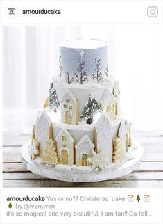 Dreaming of a Christmas cake ✨ Noel Christmas, Christmas Desserts, Christmas Baking, Christmas Cookies, White Christmas, Christmas Wedding, Cute Cakes, Pretty Cakes, Beautiful Cakes