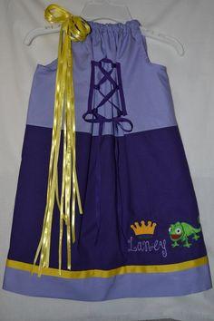 Rapunzel pillowcase dress Disneyland Disneyworld Pascal. $40.00, via Etsy.