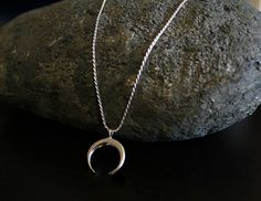 Sterling Silver Crescent Moon Pendant Necklace Silver by ByGerene
