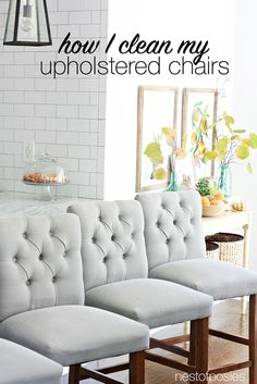 How To Clean Upholstered Chairs Or Bar Stools From Food Or Grease Stains. 2  Tricks