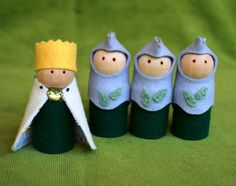 Wooden Castle with King & Knight dolls Wood and by HinterlandMama
