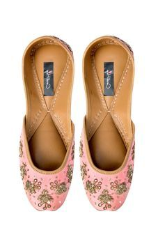 Pink Jutti With Hand Embroidered by Coral Haze, Womens Juttis & Mojaris