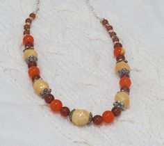 Multi color natural stone glass bead  chain by jewlerystar on Etsy