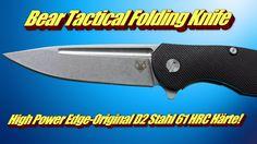 Bear Tactical Folding Knife High Power Edge Original D2 Stahl 61 HRC Härte