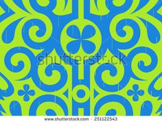 Seamless vector ornamental Pattern: curved blue lines on green