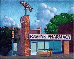 """Ravens Pharmacy"" 8 by 10 inches acrylic on canvas Ro2 Art, Dallas, TX"