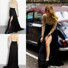 2015 Sheer Gold Lace Evening Gowns Long Sleeve Formal Prom Dresses A-Line Appliques Bridal Party Split Celebrity Mother's Gowns Online with $107.81/Piece on Sarahbridal's Store | DHgate.com