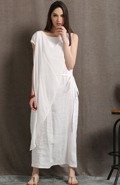 White Linen Layered Dress Loose-Fitted Feminine by YL1dress
