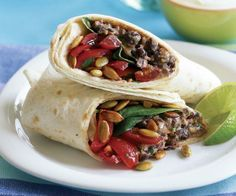 Smoky Black Bean & Cheddar Burrito with Baby Spinach Recipe
