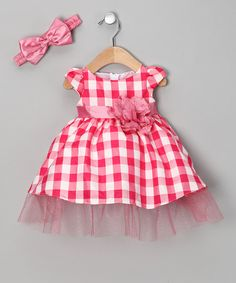 Take a look at this Fuchsia Checkerboard Dress & Headband - Infant by Sophia Young on #zulily today!