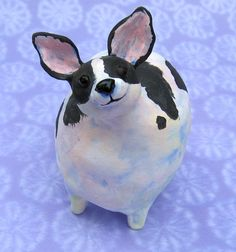 fat black and white chihuahua ceramic sculpture by KarenFincannon
