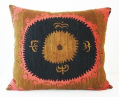 Ikat Pillows Embroidered Decorative Throw Vintage Navy Gold Nature Pattern Textile Patterns Print Pillow Talk