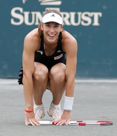 Andrea Petkovic, of Germany, reacts after defeating Jana Cepelova, of Slovakia, in two sets during the Family Circle Cup tennis tournament final in Charleston, S.C., Sunday, April 6, 2014. Petkovic won 7-5, 6-2 to win the championship. #WTA #Petkovic #FCC2014