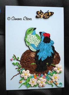 Framed piece of 2 birds - by: Simone Elena