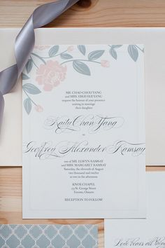 pink rose wedding stationery - anastasia marie