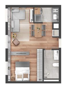 Single bedroom floor plan with furniture layout Single bed. Single bedroom floor plan with furniture layout Single bed. Small Apartment Plans, Studio Apartment Floor Plans, Studio Apartment Layout, Small Apartment Design, Bedroom Floor Plans, One Bedroom Apartment, Small House Design, Small Apartments, House Floor Plans