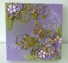 mixed media canvas butterfly & flowers - Scrapbook.com