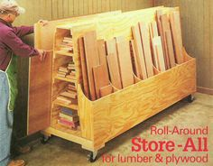 Roll-around lumber cart from Shop Notes magazine No. 55. #lumber #storage #cart
