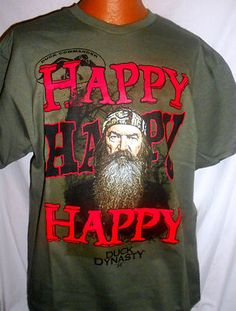 DUCK DYNASTY FUNNY T-SHIRT HAPPY HAPPY DUCK COMMANDER PHIL LARGE SI HUNT REDNECK