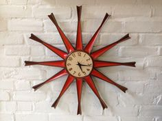 Vtg Retro Syroco Starburst Wall Clock Mid Century