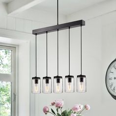 Warehouse of Tiffany Nando Matte Black Chandelier with Clear Glass Jar Shade - The Home Depot Track Lighting Fixtures, Linear Lighting, Linear Chandelier, Chandelier Ceiling Lights, Black Chandelier, Cool Lighting, Light Fixtures, Rectangular Chandelier, Industrial Chandelier