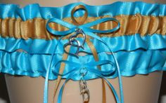 Turquoise and Gold Wedding Garter Set Bridal by WeddingGarterStore, $15.99