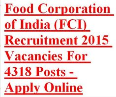 Food Corporation of India (FCI) Government of India issued Advertisement Notification for recruitment of Junior Engineer, Assistant Grade-II, Typist (Hindi) and Assistant Grade-III in North, South, East, West and North East Zones. Eligible candidates are required to Apply Online on or before closing date 17th March 2015.