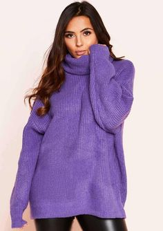a3c62efc78 Missyempire - Tamarah Purple Roll Neck Oversized Knit Jumper