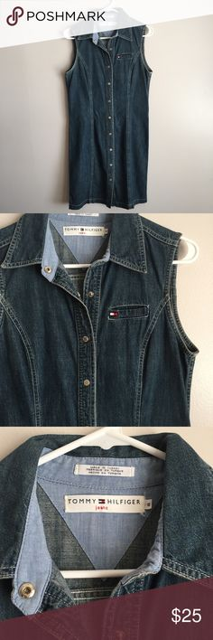 Tommy Hilfiger Sleeveless Denim Dress Retro 2002 Retro style Tommy Hilfiger denim snap down sleeveless dress in size 8. Circa 2002.  Excellent pre-owned condition. No observed rips, stains, or odors. Sold from a smoke free/pet free home. Tommy Hilfiger Dresses