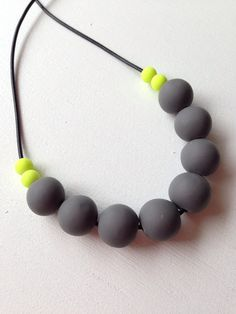 Charcoal/neon yellow necklace