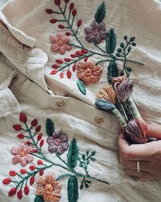 @plystreknitwear #embroidery #handembroidery #embroideryart #handmade #handstitch #modernembroidery #needlework #flowerpattern… Embroidery On Clothes, Learn Embroidery, Ribbon Embroidery, Embroidery Art, Embroidery Stitches, Contemporary Embroidery, Modern Embroidery, Flower Embroidery Designs, Hand Embroidery Patterns