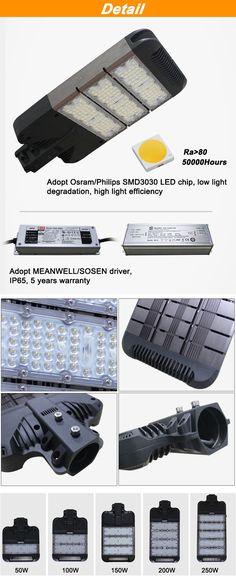 50w 100w 150w 200w 250w led street light
