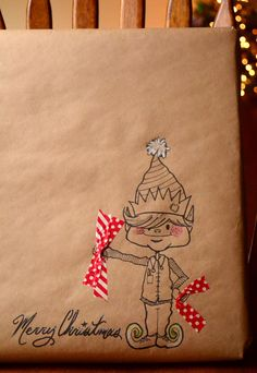 Doodle on craft paper and incorporate Washi Tape! Idea for personalizing gift wrap. I just wish I could draw!