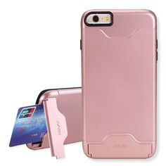 NAISU iPhone 6 Plus / 6S Plus Case, Card Slot Holder Kickstand Dual Layer Hybrid Protective Case with Brush Finish Back Cover for Apple iPhone 6 Plus / 6S Plus-Rose Gold. Dual Layer Protection: 2 In 1 hybrid design [soft TPU inner layer & tough PC outer layer] provide reinforced protection. Card Slot Holder: Hidden card slot securely stores your credit card, drivers license, or cash, allows you to enjoy the convenience of card payments so easy. Kickstand: Added built in kickstand gives…