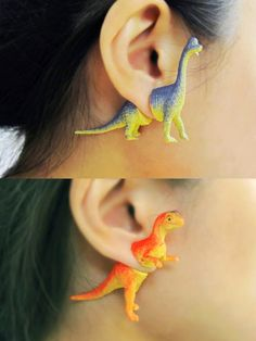 Toy dinosaur earrings - upcycled jewelry #retro #NerdsAreCool