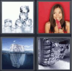 4 Pics 1 Word Ice cubes. Girl eating popsicle. Glacier. Frozen. Ice. Find the 4 pics 1 word answers you need and still have fun with the game. :)