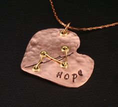 Items similar to Hope Heart in Copper for CHD Awareness / Chd Necklace / Hlhs Necklace / Heart Surgery Necklace / Broken Heart Necklace / Hope Necklace on Etsy Heart Disease Facts, Chd Awareness, Open Heart Surgery, Congenital Heart Defect, Copper Necklace, Hand Stamped Jewelry, Heart Art, Close To My Heart, Etsy