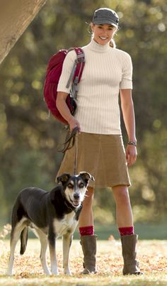Skirts and Dresses: Outfit Ideas | Athleta. Organic cotton demi-sleeve t-neck sweater; whenever cord skirt; wool cadet cap; ornamental knee high socks; off the beaten track jefferson boot.