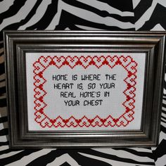 Home is Where the Heart Is Framed Cross Stitch. $20.00, via Etsy.