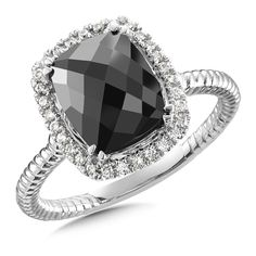 Spinel Diamond Ring in 14K White Gold by Colore│ORO  http://coloresg.com/