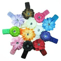 The Trendy Turtle - 12 Assorted 3-in-1 Large Flower Hair Clip Bows with Soft Stretch Crochet Child Headbands fits Infant Baby to Toddlers to Youth Girls - Mix of Gerber Daisy Lily & Peony - Great for Christmas, Photos or Baby Shower Gift $14.95