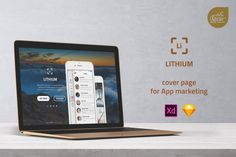 Lithium - Cover Page for App Marketing UI Template by itefan on Envato Elements App Marketing, Web Ui Design, Grid System, Ui Kit, Cover Pages, Wordpress Theme, Landing, Product Launch, Typography