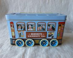 Items similar to Hershey's TRAIN CANISTER- Collectible Metal Canister, Hershey tins, Hershey collector cans, train collectibles, canister with wheels on Etsy Hershey Candy, Hershey Chocolate, Container Shop, Vintage Tins, Canisters, Cocoa, Decorative Boxes, Train, Unique Jewelry