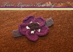 Baby girl knitted headband with purple by terrilynnsknitting, $15.00