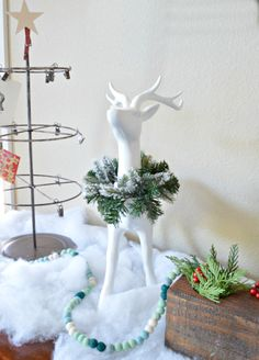 Christmas Vignette with reindeer and card holder