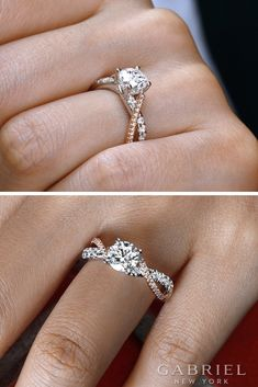 Explore engagement rings, wedding rings and anniversary bands from Gabriel & Co., a luxury bridal and fashion jewelry brand handcrafting unique designs with quality metals and ethically-sourced diamonds. Cute Rings, Unique Rings, Unique Jewelry, Jewellery Diy, Ring Rosegold, Gabriel, Wedding Rings Simple, Three Stone Rings, Diy Schmuck