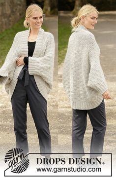 Knitted shoulder piece in DROPS Lima and DROPS Kid-Silk. The piece is worked with textured pattern and rib. Shrug Knitting Pattern, Knit Shrug, Sweater Knitting Patterns, Cardigan Pattern, Knitted Poncho, Easy Knitting, Knitting For Beginners, Knit Patterns, Finger Knitting